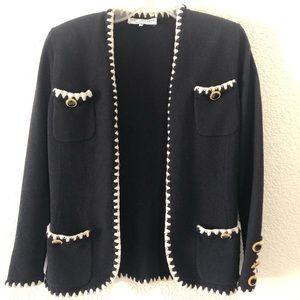 ST. JOHN black open knit cardigan Small